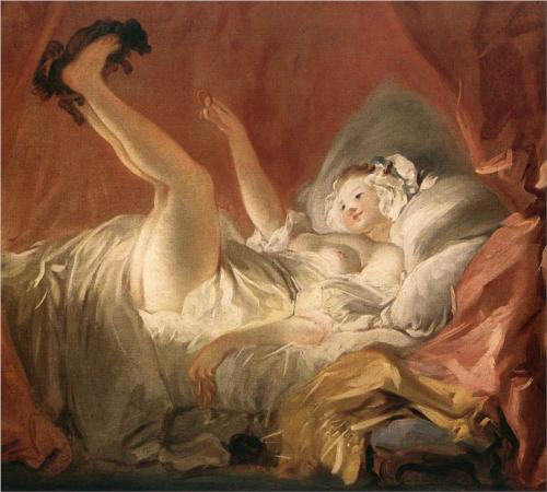 Young Woman Playing with a Dog - Jean Honore Fragonard