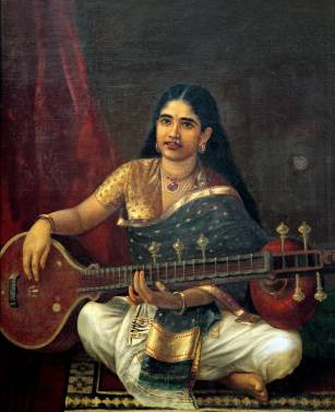 Young Woman with a Veena - Raja Ravi Varma