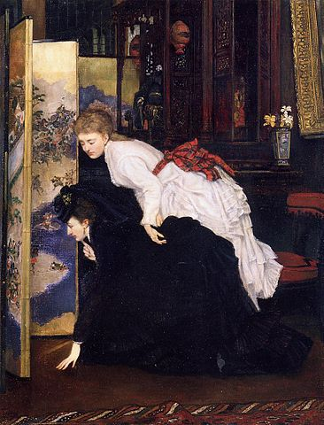 Young Women Looking at Japanese Screen - James Tissot